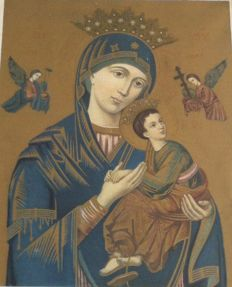 Mother of God of Tichvin in Baroque frame - 20th century