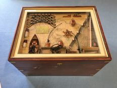 Decorative ship's chest with ship display case with authentic models