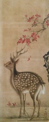 'White tailed deer under maple tree in autumn colours' by Mori Tetsuzan 森徹山 (1775 - 1841) - Japan - ca. 1810