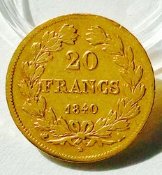 France - 20 Francs 'Louis Philippe' 1840-A Paris - gold