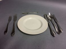 Silver plated cutlery for 6 persons, total of 36 items, classic design, ca. 1940