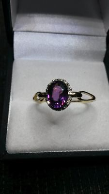 RARE Purple Garnet from Comeria 1.63cts yellow gold ring LOW RESERVE