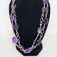 835 Silver long necklace with large Amethyst cabochons approx. 13,5 x 9,8 mm, the length approx 70,5cm