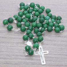 Rosary made of faceted Emerald beads and Sterling Silver.