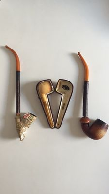 Jacob pipe and 2 Meerschaum pipes