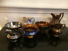6 parts of a gold stone crockery and a lustre milk jug, England, approx. 1880 and later
