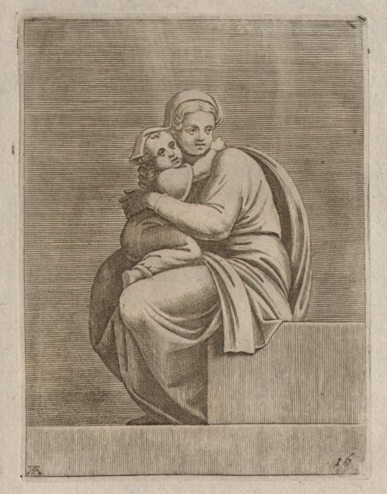 Michelangelo Buonarroti (1475 - 1564) - Sixtine Chapel  /Seated woman holding a child engraved by  Adamo Scultori (actief 1547-1587)  - Ca.1550-1570