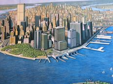 Richard Haas - Manhattan View from Governor's island, color