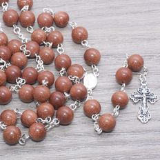 Rosary of Gold Stone with Sterling Silver
