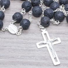 Rosary of Black Volcanic Stone with Sterling Silver