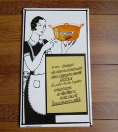 Enamel advertising sign for Ultra Cookware - late 20th century.