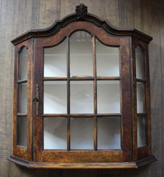 Walnut wall display cabinet with white interior, ca. 1950