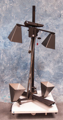 A Linhof repro column with accessories, consisting of two double original lamp holders with matching black screens.