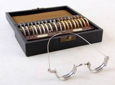Antique optometrist lens set - opticians/chest with lenses for testing and 'glasses'