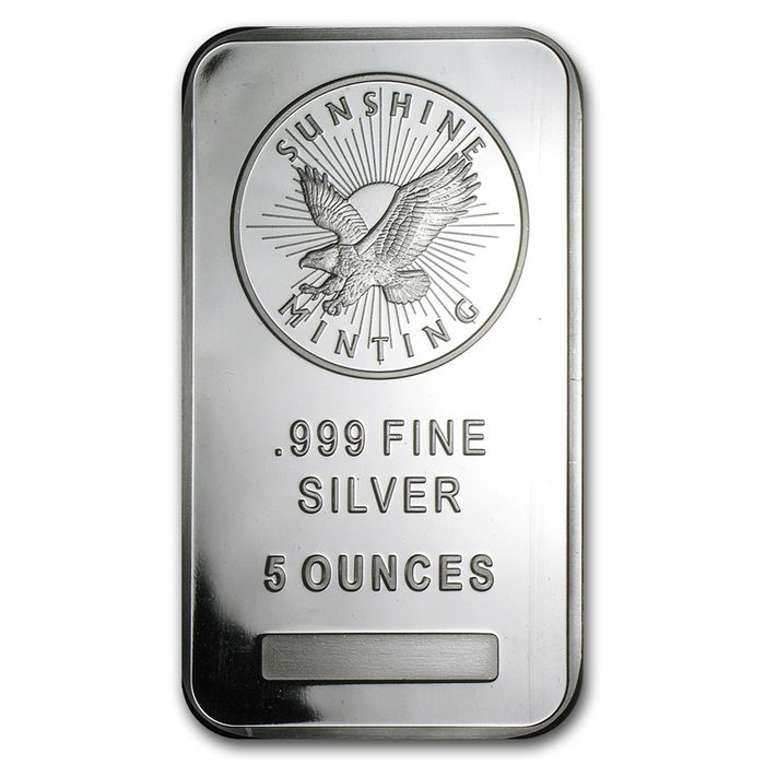 USA - 5 oz 999 Silver Bar - Sunshine Minting - V2 Eagle
