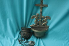 religious set / large copper holy water font - censer