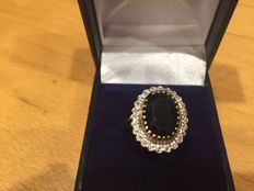 Gold sapphire and diamond ring, O 1/2