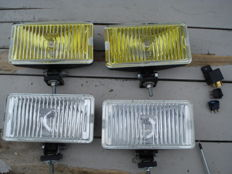 A set of beautiful new DDR RUHLA fog lamps and two DDR RUHLA floodlights used in the 1980s and 1990s