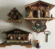 Black Forest Germany - traditional miniature (Cuckoo) clock/weather house/music box