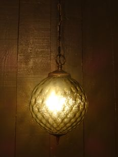 Art Deco style hanging lamp with brown/grey glass, second half of 20th century - The Netherlands