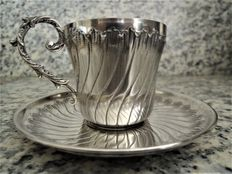 Silver art deco cup and saucer, France