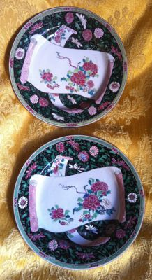 "Couple of ""Familie noire"" dishes - China - XVIII century"