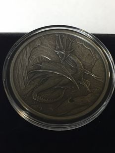 USA - Nordic Creatures - Nidhoggr 2016 - Antique Silver Finsih - With box & certificate - 999 silver