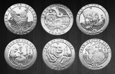 Isle of Man - Crowns 1993/1999 'Year of the Rooster, Rat , Dog, Pig, Tiger & Rabbit' (6 different)
