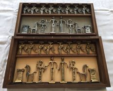 Old Greek chess set in original chest