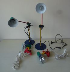 Two retro desk lamps & two attachable lamps in the colours of Italy.