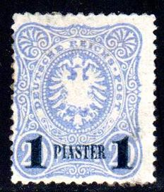 German post Turkey 1884 - imperial eagle in oval, 10 Para and 1 Piaster with blue overprint Michel 1b and 3NEII with certificate