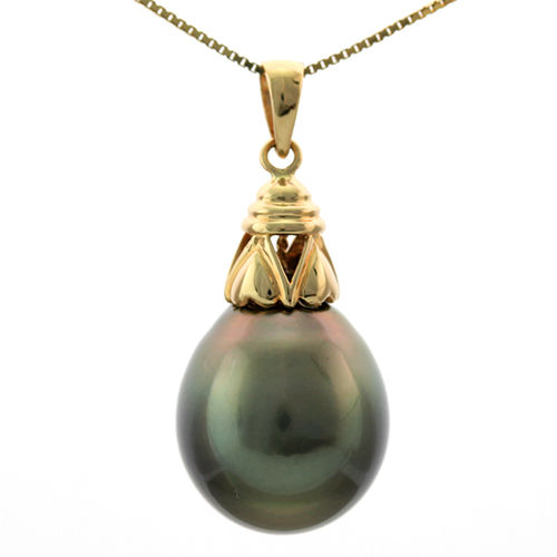 Tahitian black pearl 14.5 x 14mm set with yellow gold 585/1000 pendant