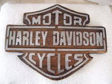 Harley Davidson - wood and brushed metal panel - 21st century