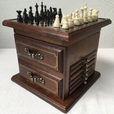 Original chess cabinet with many extras