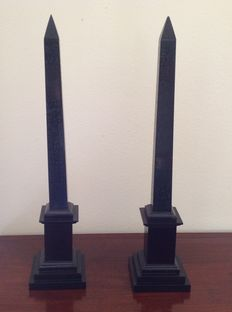 A few decorative black marble obelisks - Italy - 19th/20th century