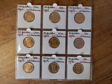 Nederland – Series 10 guilders 1911/1933 (9 pieces) Wilhelmina – gold