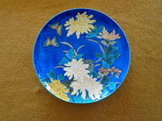 Théodore DECK - Japonism-style plate with chrysanthemums and butterflies