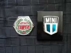 2 original mini and Cooper badges