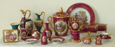 Collection of 20 pieces Limoges France-including Peint Main dish with bronze edge