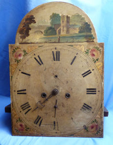 English Late-18th/Early 19th Century Handpainted Grandfather Clock Face and Workings