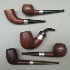 Lot of five early briar pipes with sterling silver bands-E-K, SSS, FA and Comoy-England, ca. 1915