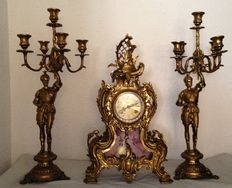 """Horslante a Portreal"" mantel clock - Hermle weste Germany 131 - 070 -includes 2 candelabras - 1986"