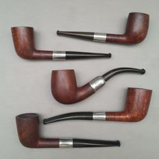 Lot of five early briar pipes with sterling silver bands.