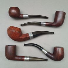 Lot of five early briar pipes with sterling silver bands-BBB and WDC-England and USA, ca. 1915