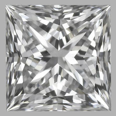 0.40 ct IGI PRINCESS CUT  Brilliant  F IF  - Serial# 1757-original image 10 x