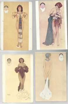 Old postcards world - 7 cards - Kirchner - art nouveau - complete series of the seven deadly sins