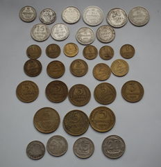 USSR/Russia - Set of 33 Different Coins (Including 10 silver), no repeats