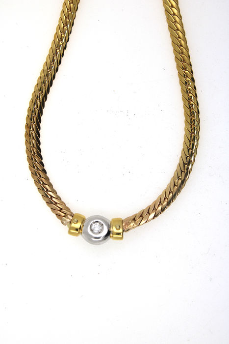 14 kt. Gold, White gold - Necklace - 0.15 ct Diamond