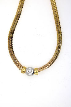 Solitaire 585/14 kt gold necklace with brilliant, length 42 cm and can be extended to 50 cm
