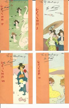 Old postcards world - 10 cards - Kirchner - art nouveau - complete geisha series